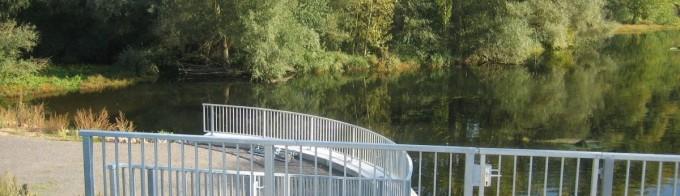 Füllstabgeländer (100m) mit vier Türen im Geländer, Albschleuse Karlsruhe